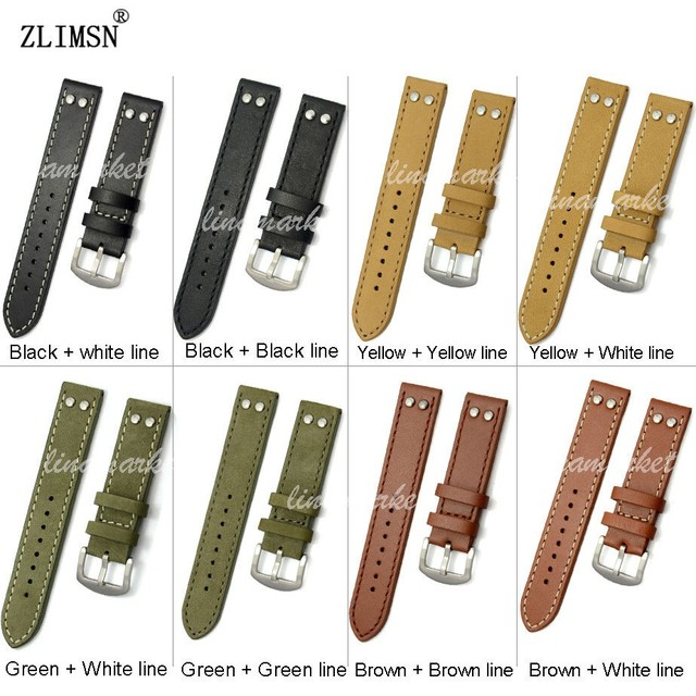 Zlimsn 20mm 22mm faixas de relógio de pulseira de couro genuíno cinto cinta pin fivela grossa marrom preto verde amarelo fecho relojes hombre