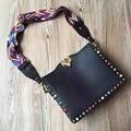 Diamond color leather rivet Small Bag Shoulder Bag Messenger Bag retro lock postman wide straps knitting bag