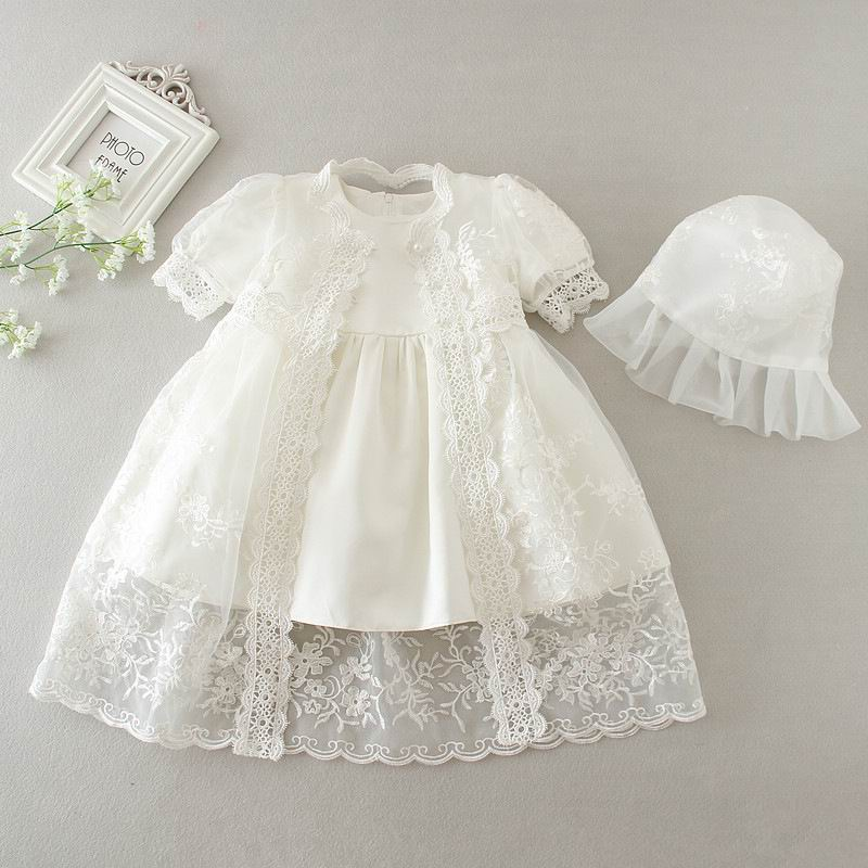 2016 New Newborn Baby Girl Christening Gown 3pcs Sets Infant Girls Princess Lace Baptism Dress Toddler