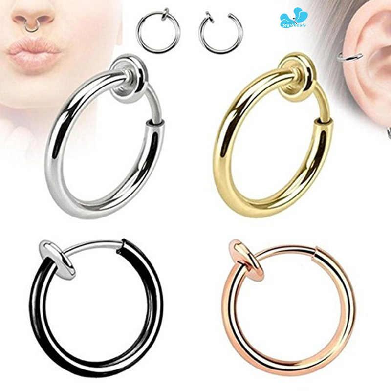 2pcs Steel Fake Nose Ring Stud Lip Ear Nose Clip On Fake