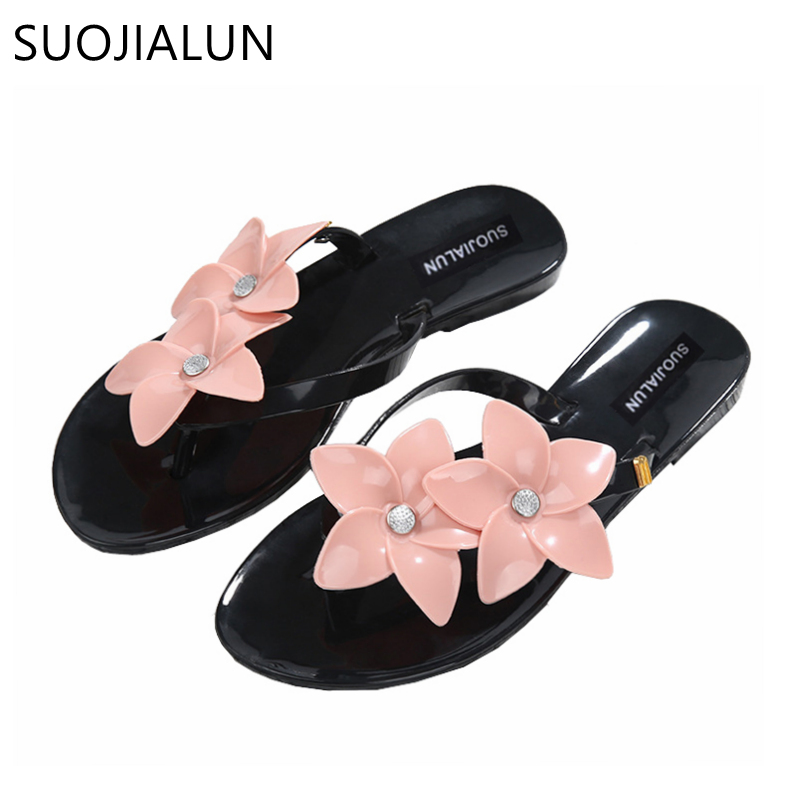 SUOJIALUN Flower Women Slippers Flip Flops Women Sandals Female Candy Color Beach Shoes 2018 Fashion Outside Flat Slides halluci breathable sweet cotton candy color home slippers women shoes princess pink slides flip flops mules bedroom slippers