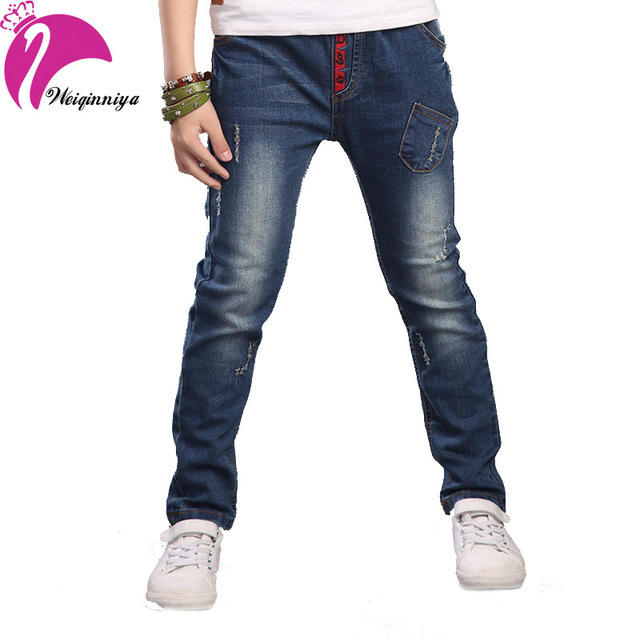 Children's Casual Jeans Pants For Boys New Summer 2016 Solid Straight Hole Denim Trousers Fashion Children's Clothing Hot Sell