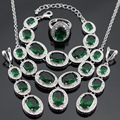 Silver Color Jewelry Sets For Women Made in China Green Imitated Emerald Necklace Pendant Bracelets Long Earrings Rings Free Box