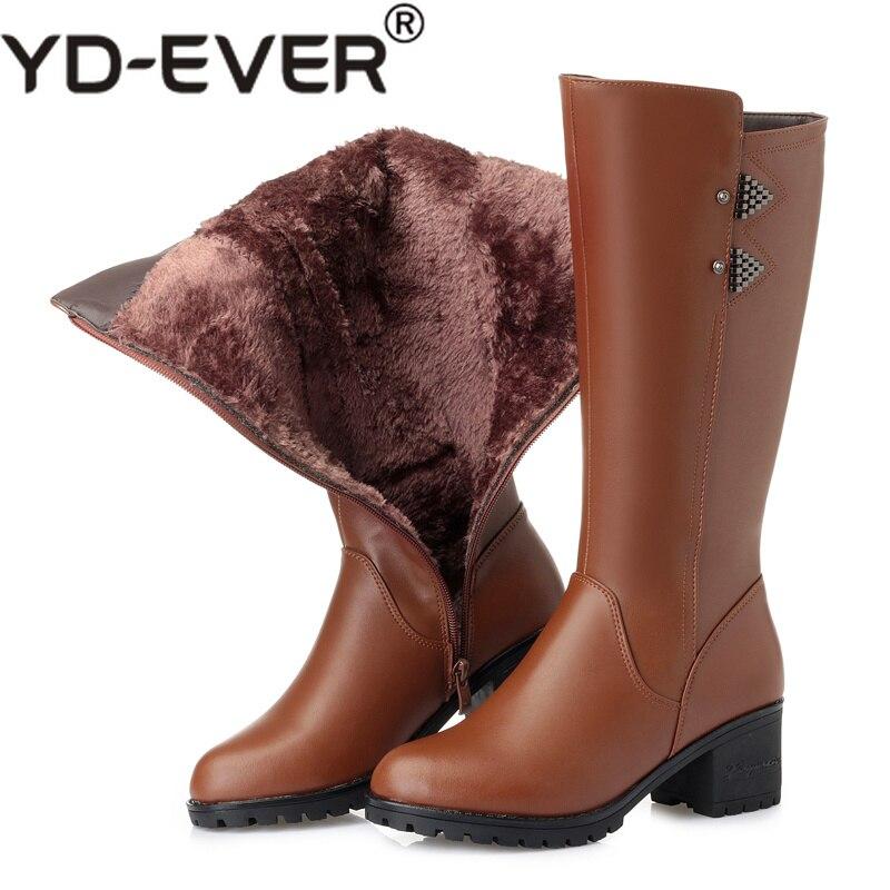 1c683acf Mujer Mujeres Más Zapatos Negro Invierno Cuero marrón La Rodilla Tacón  Altas De Alto Grande Las Botas ...