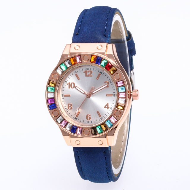 Top Brand Luxury Women leather Watches Fashion Casual Female Reloj Colored diamond Leather Bracelet Quartz Wrist Watch Clock gif