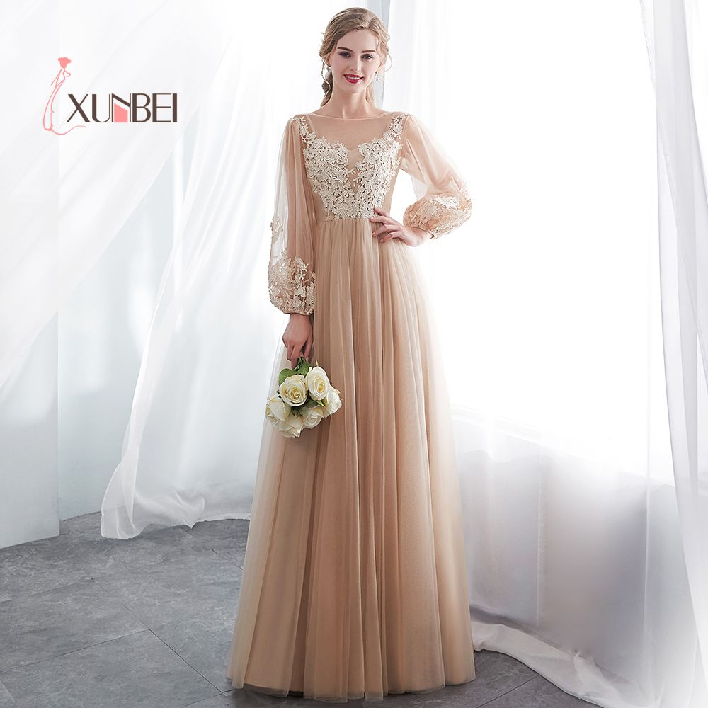 Robe demoiselle d'honneur A Line Long Sleeves Champagne   Bridesmaid     Dresses   Long 2019 Tulle Applique Prom   Dresses   Party Gown