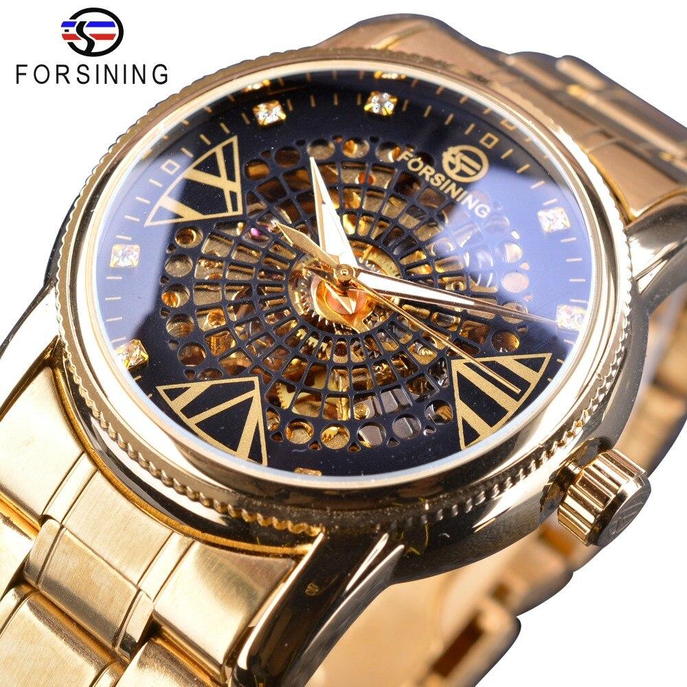 Forsining Royal Golden Skeleton Diamond Display Men Transparent Creative Wristwatch Top Brand Luxury Steel Automatic Watch Clock кольцо royal diamond