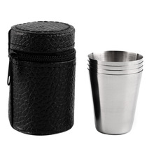 1 Set of 4 Stainless Steel 30ML, 70ML, 180ML Camping Cup Mug Drinking Coffee Tea With Case Popular New