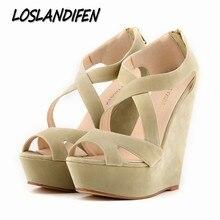 Loslandifen/Новые женские туфли-лодочки на высоком каблуке; женские сандалии-гладиаторы с открытым носком; обувь на танкетке; обувь на платформе; обувь с поперечным ремешком; обувь размеров от 35 до 42