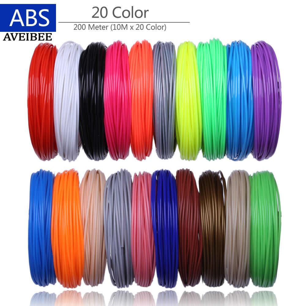 Filaments d'imprimante 3D 200 mètres 20 couleurs stylo d'impression 3D fils en plastique fil 1.75mm consommables d'imprimante 3 D Filament de stylo ABS
