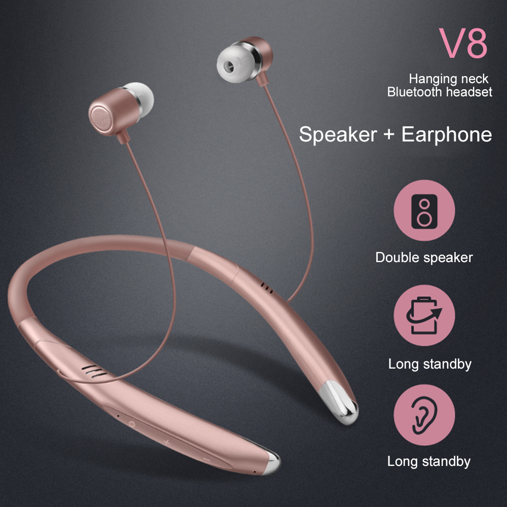 New 2 IN 1 Wireless Headphone Bluetooth Headset Stereo Earbuds Neckband Earphone With Mic For iPhone Samsung Redmi Android Phone wireless headphone bluetooth earphone hd headband headset with mic headsfree earpiece for android ios samsung iphone lg motorola
