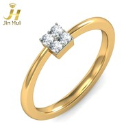 Jinhui Women Clover Ring Solid 18K Yellow 750 Gold 0.06CT Natural Diamond Jewelry Free Engraving