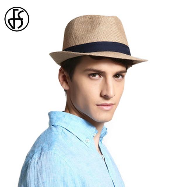 FS Estate Blu Giallo Panama Cappello Della Spiaggia Delle Donne 100% di Lino  Fedora Cappelli ffdc453a0d42