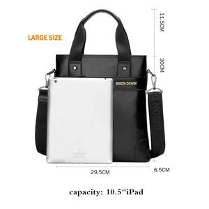 Image 4 - BISON DENIM bolso de mano de cuero genuino bolso de mensajero, de negocios, para hombre iPad vaca bandolera de cuero Crossbody bolsos masculinos N2202