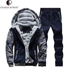 Mann Hoodies & Hosenanzug Kleidung Mann Winter Plus Samt Hoodie Männer Drucken Mit Kapuze Jacke Mäntel Langarm und Lange Hosen