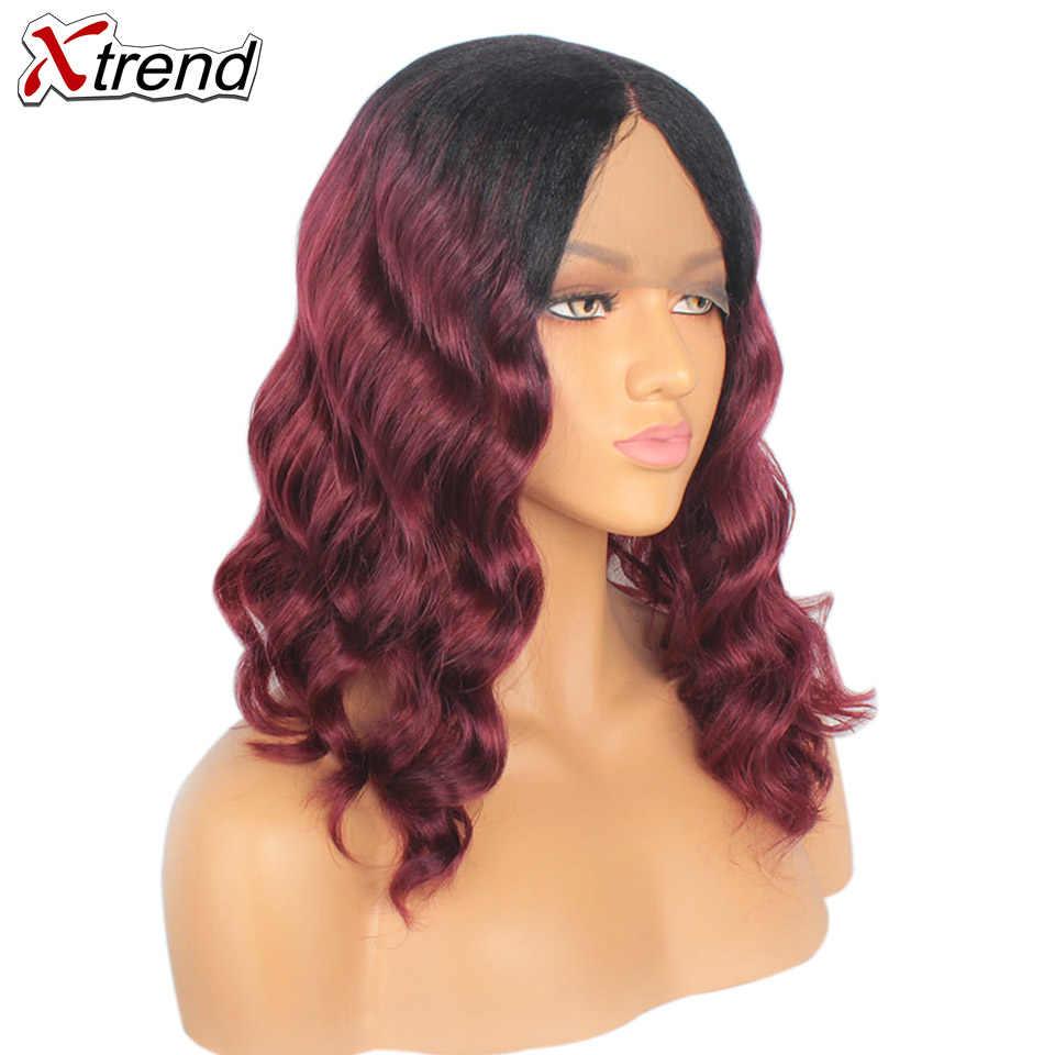Xtrend синтетический волнистый парик фронта шнурка парики короткий Боб волос 14 дюймов черный коричневый красный Омбре парик для женщин Регулируемый термостойкий