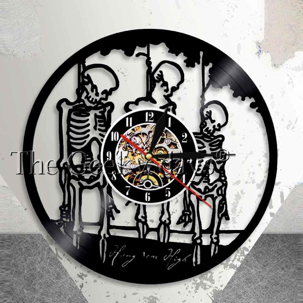 Hang Them High Halloween Horror Wall Art Wall Clock Treble Skulls Hangman On Rope Skeletons Vinyl Record Wall Clock Home Decor