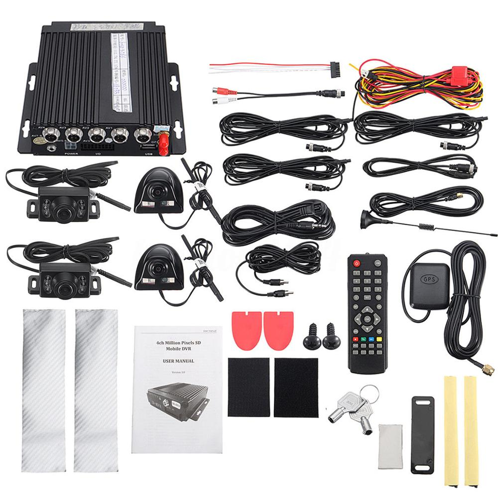 12v 4ch Car Mobile Dvr 3g Wireless Gps Video Recorder4 Camera Remote View With Shock Sensor And Wifi Power Adapter 3g4111