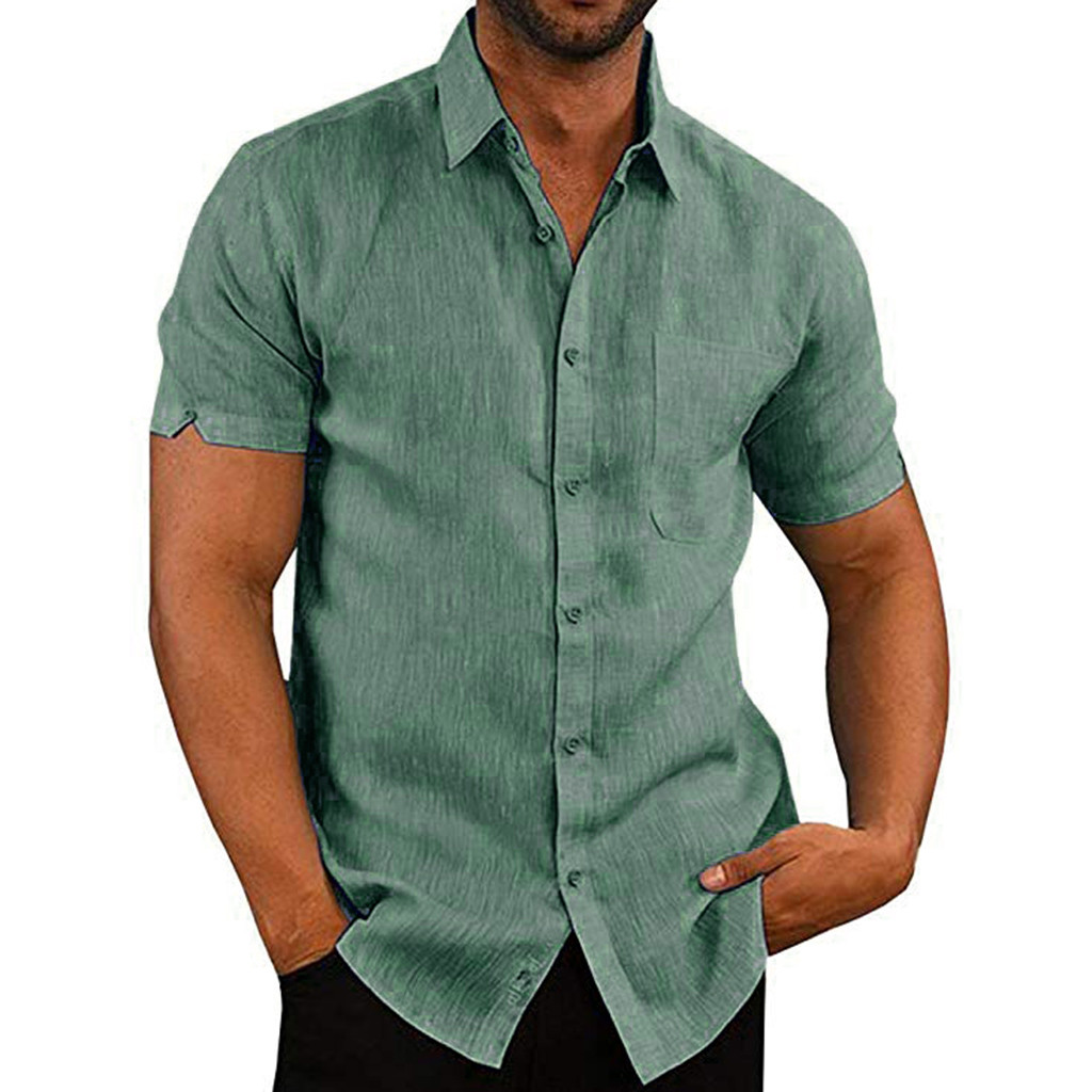 JAYCOSIN Summer Men Shirts Blouse Short-Sleeve Pockets Streetwear Slim Casual Beach New title=