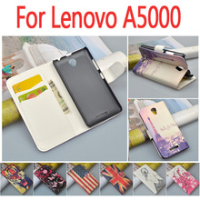 Luxury leather case for Lenovo A5000 A 5000 flip cover case housing With card slot LenovoA5000