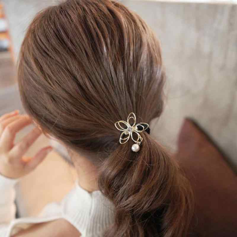 2017 New Fashion Pearl Jewelry Wire Hollow Flower Crystal Hair Accessories Women Gifts Wholesale