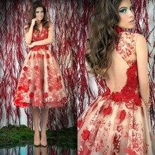 2016 neue Ankunft Rot Prom Kleider 2016 V Neck Knielangen Spitze Aqppliued Backless Short Prom Kleider Für Partei EM04229