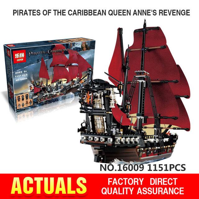 Envío libre LEPIN 16009 1151 Unids Piratas Del Caribe de la Reina Anne Reveage Modelo Kits de Construcción de Juguetes de Bloques de Ladrillo