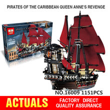 Free shipping LEPIN 16009 1151Pcs Pirates Of The Caribbean Queen Anne's Reveage Model Building Kits Minifigure Blocks Brick Toys
