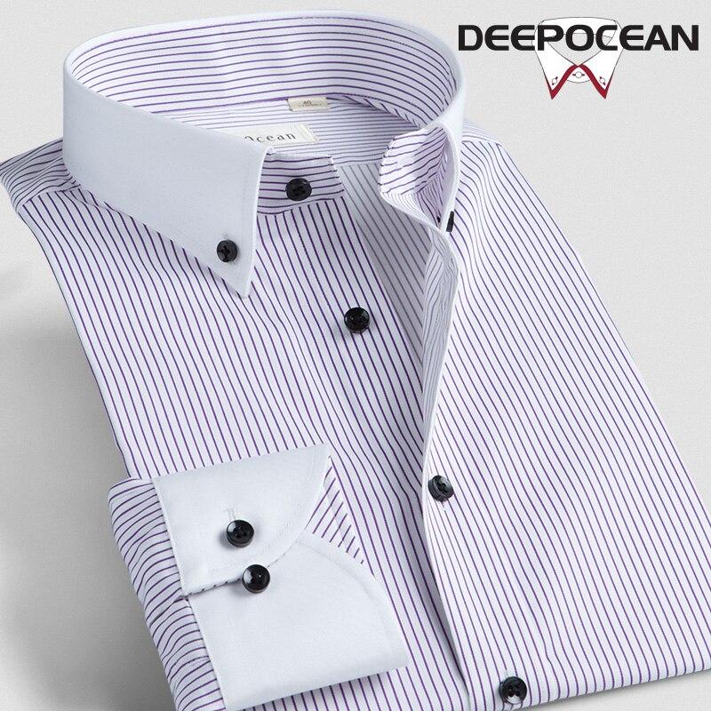 Deepocean Deepocean Merk Mannen Shirt Lange Mode Gestreepte Katoenen Shirts Business Tops Hombres Camisas Shirts Mannen 45554 56L-in Casual tshirts van Mannenkleding op AliExpress - 11.11_Dubbel 11Vrijgezellendag 1