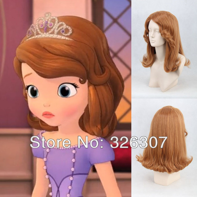 Sofia Princess Anime Wig Cosplay Party Girl Women Brown Curly Hair