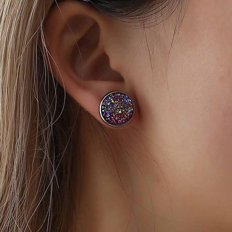 คริสตัล Shine Ear Hoop ต่างหูผู้หญิง 10 สีรอบ Cubic Zircon Charm ดอกไม้ต่างหูเครื่องประดับสตรีของขวัญ