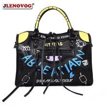 Female Tote Herald Fashion Women Leather Handbags Designer Medium Motorcycle Graffiti Black Letter Print Crossbody Shoulder Bag