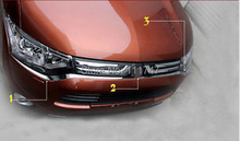 3pcs!Chrome!For Mitsubishi Outlander 2013 2014 front bumper grille grill Molding cover trim