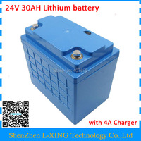 24 V lithium ion battery 24v 30ah Free customs fee 24V Scooter Bicycle battery use 3.7V 5000mah 26650 cells with 4A Charger