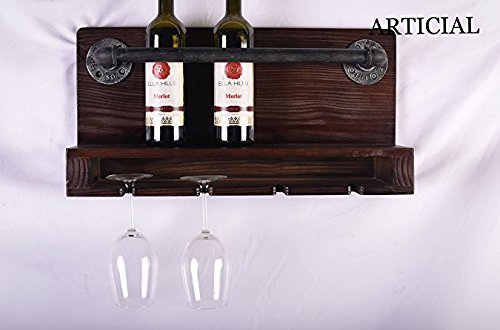 Industrial Furniture Wall-Mounted Retro Wine&Glass Holder Floating Wood Shelf Holder Kitchen Storage Rack Wine Cabinet купить в Москве 2019