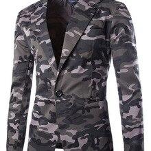 Камуфляжный блейзер для мужчин Новое поступление мужской s приталенный Блейзер Куртка Amry стильный однокнопочный мужской костюм Veste Homme