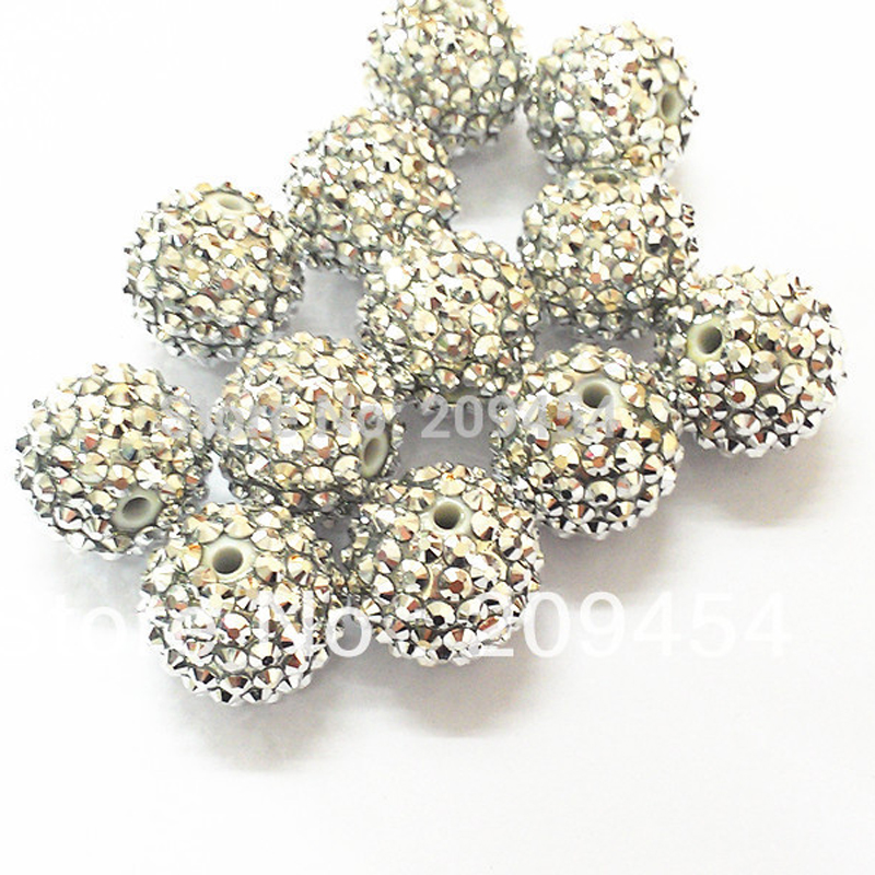 Image 2 - Wholesale Part 2 1, 12mm 14mm 16mm 18mm 20mm  Chunky Resin RhinestoneBall Beads For Fashion Chunky Jewelry-in Beads from Jewelry & Accessories