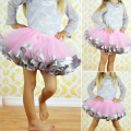 Girl Tutu Skirt With Satin Ribbon Trim Sewn Puffy Baby Tutu Skirt for 0-7 years old