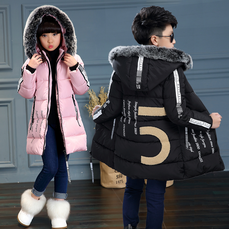 Kids Long Parkas For Girls Fur Hooded Coat Winter Warm Down Jacket Children Outerwear Infants Thick Overcoat 4 6 9 10 12 2017 new baby girls boys winter coats jacket children down outerwear warm thick outdoor kids fur collar snow proof coat parkas