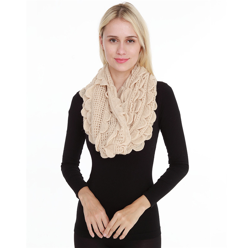 2019 New Woman Scarf Fashion Cotton Scarf Soft Comfortable Lace Knitted Hollow Ring Lady Scarves