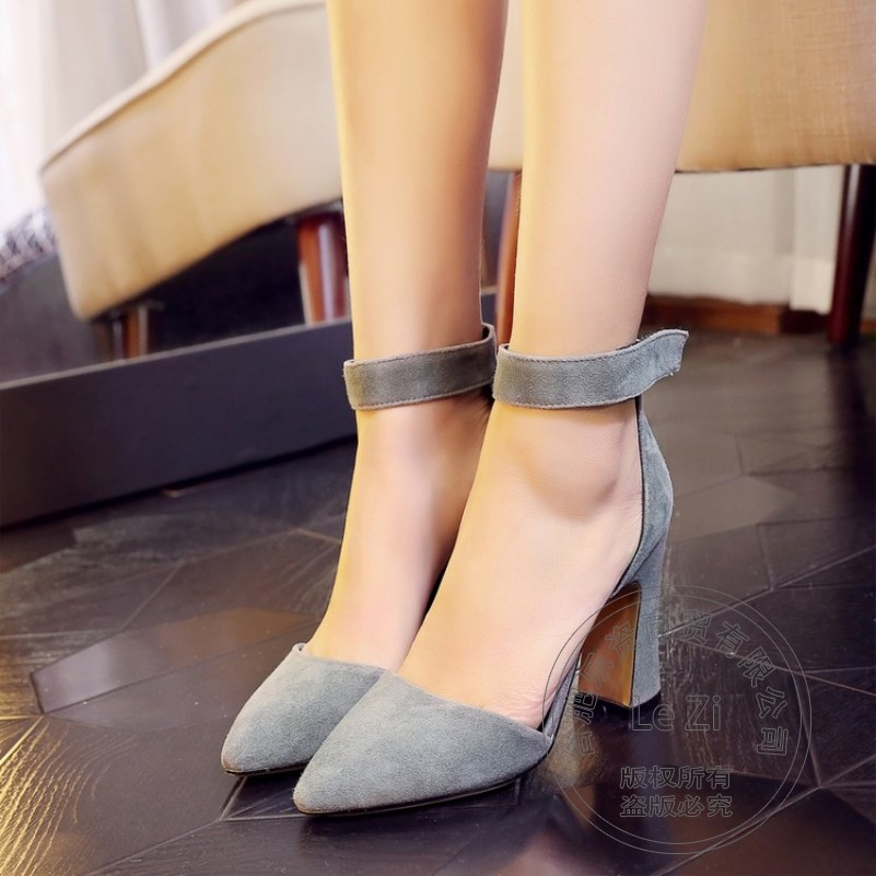 ФОТО Comfy Ankle Strap Pu Simple Wedding Shoes Closed Toe Glamour Pump Suede Shoes Pointy Adult Ceremony Spool Heel Thick Heels Wear