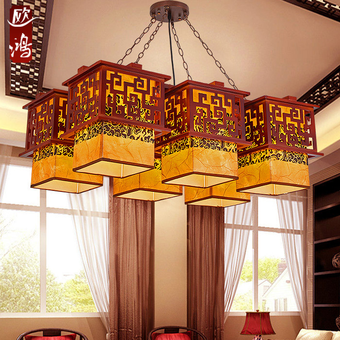 Chinese style corridor hallway Wooden Pendant Lights solid wood living room dining room Pendant lamp creative bedroom study