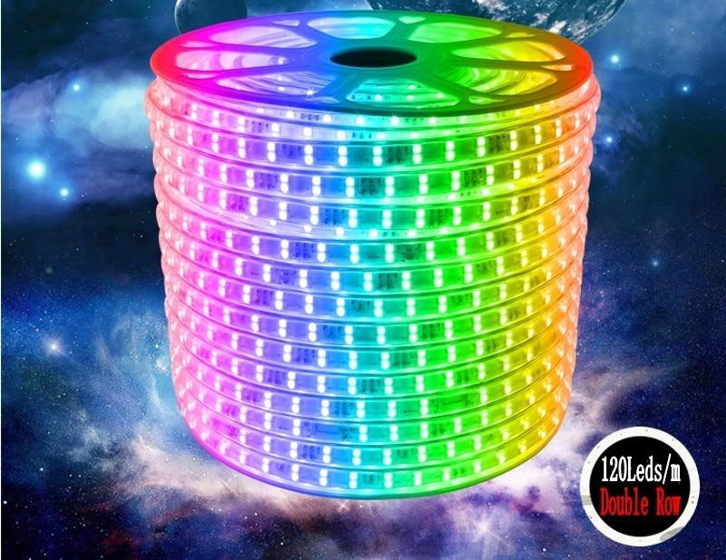 120leds/m 220V 240V RGB Led Strip 5050 Double Row Warm White/white/RGB Led Tape Light Home Decoration 1m 5m 10m 15m 20m 50m 100m