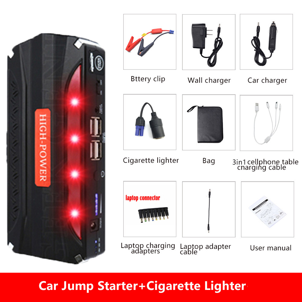 2018 MultiFunction Emergency Car Jump Starter Mini 12V Portable Power Bank Car Charger Battery Booster for Cars Starting Device practical 89800mah 12v 4usb car battery charger starting car jump starter booster power bank tool kit for auto starting device