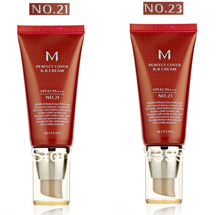 Hot100 % original de importação da coréia Maquiagem MISSHA PERFEITO COVER #21 + #23 BB creme SPF42 50 ml novo com caixa de creme para o rosto