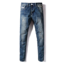 Blue Color Fashion Mens Jeans Back Pocket White Stripe Jeans Men DSEL Brand Straight Fit Denim Ripped Jeans For Men Button Pants dsel brand men s jeans high quality blue color denim stripe jeans mens pants buttons destroyed ripped jeans for men biker jeans