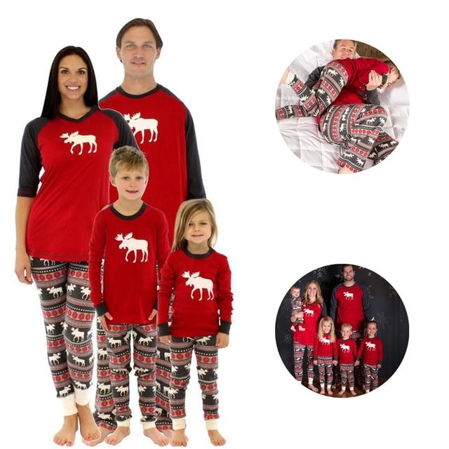 long sleeve set mom kids reindeer family pyjamas print christmas pjs dads hot