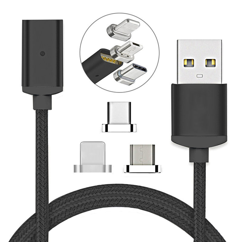 Baolx USB Type C/IOS/Micro USB 3IN1 Magnetic Cable Type-C USB-C Fast Charger Adapter Magnet Cable For iPhone Mobile Phone Cables