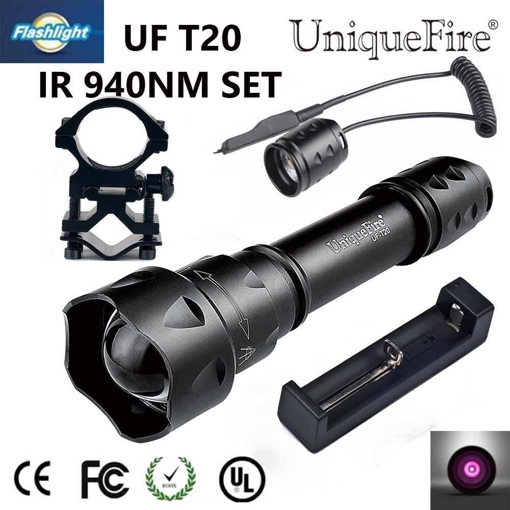 UniqueFire T20 IR 940NM 38mm Hunting Light Aspherical Lens Infrared Night Vision 3 Modes Flashlight+Charge+Scope Mount+Rat Tail uniquefire night vision ir 940nm flashlight uf t20 osram ir led zoom 3 modes aluminum alloy lamp torch scope mount