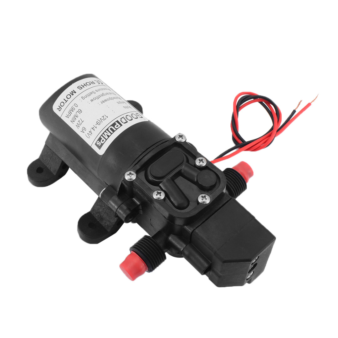 High Pressure Diaphragm Self Water Pump DC12V 70W 130PSI 6L/Min Priming Pump Straight Type for Garden Irrigation Car Cleaning 70w dc 12v 130psi 6l min water high pressure diaphragm self priming pump